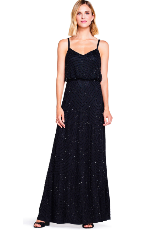 Gatsby Art Deco Blouson Beaded Gown By Adrianna Papell - Black