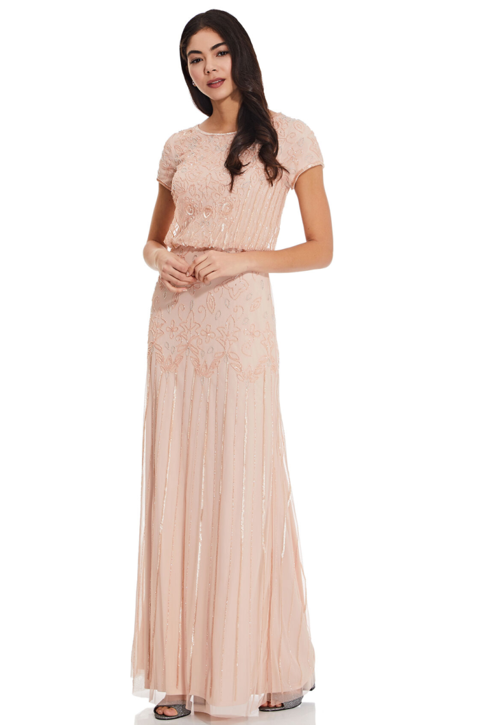 Nina Short Sleeve Blouson Beaded Gown By Adrianna Papell - Blush