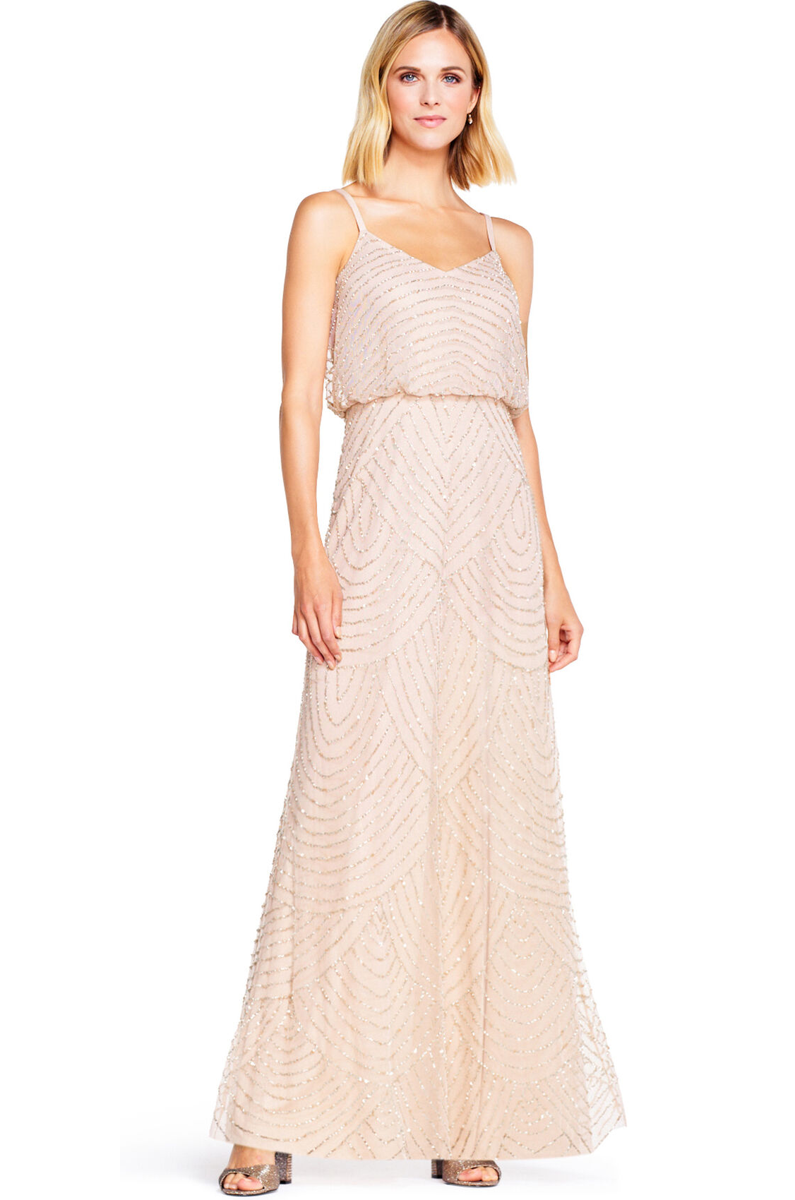 Gatsby Art Deco Blouson Beaded Gown By Adrianna Papell - Blush