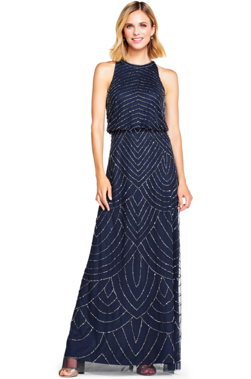 Nouveau Halter Art Deco Beaded Blouson Dress By Adrianna Papell - Navy