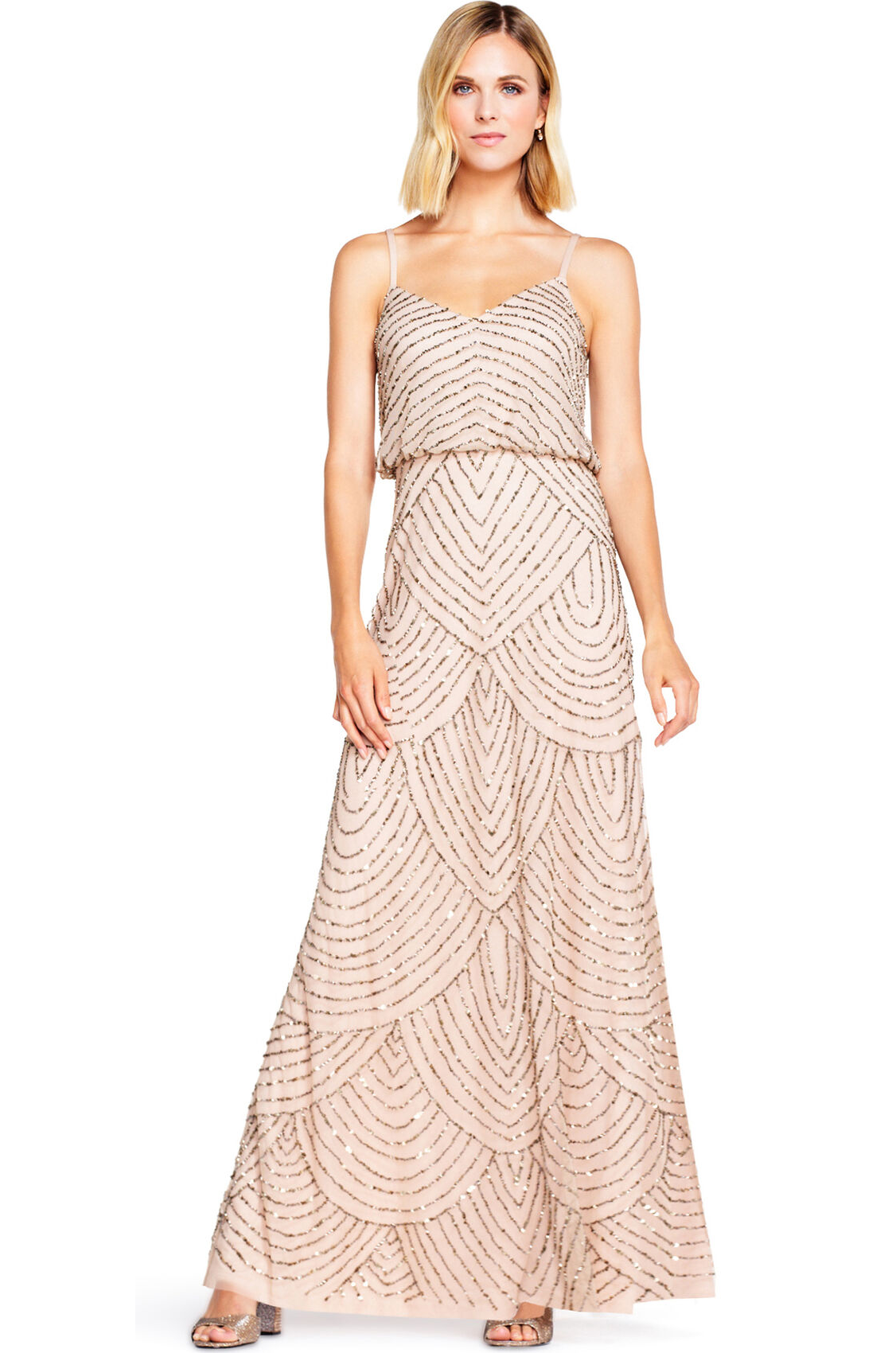 Gatsby Art Deco Blouson Beaded Gown By Adrianna Papell - Taupe Pink