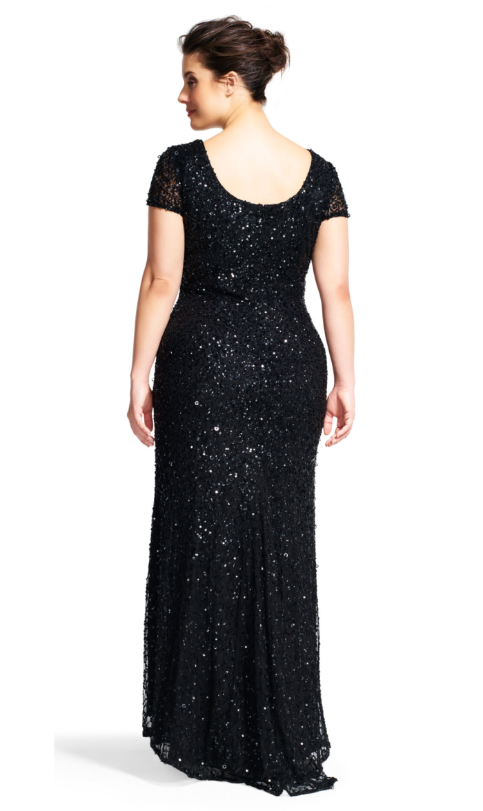 Pearl Scoop Back Sequin Gown By Adrianna Papell - Black