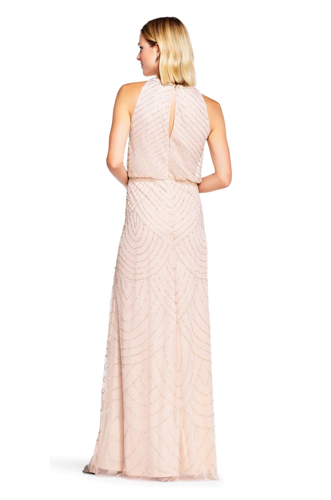 Nouveau Halter Art Deco Beaded Blouson Dress By Adrianna Papell - Blush