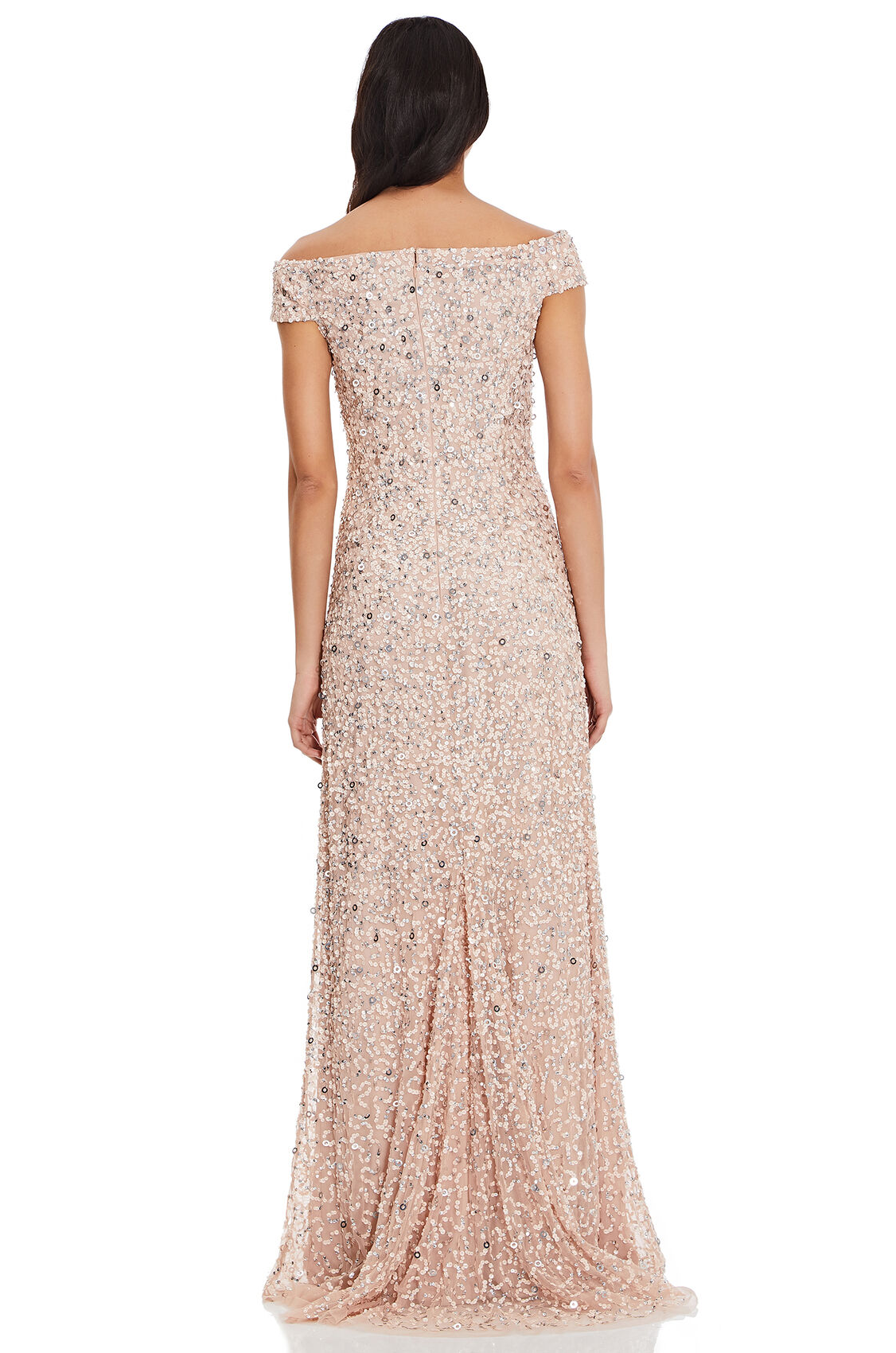 Lillian Off the Shoulder Sequin Beaded Gown By Adrianna Papell - Blush