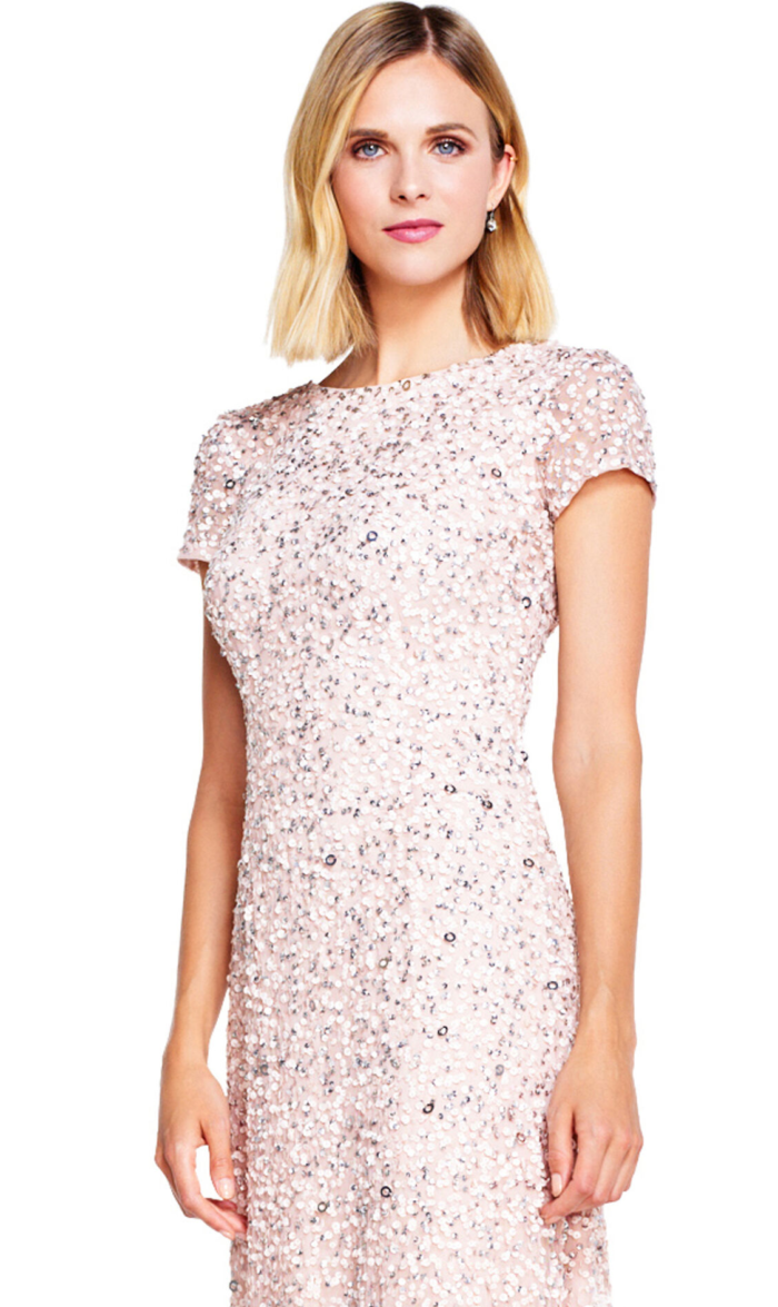 Pearl Scoop Back Sequin Gown By Adrianna Papell - Blush