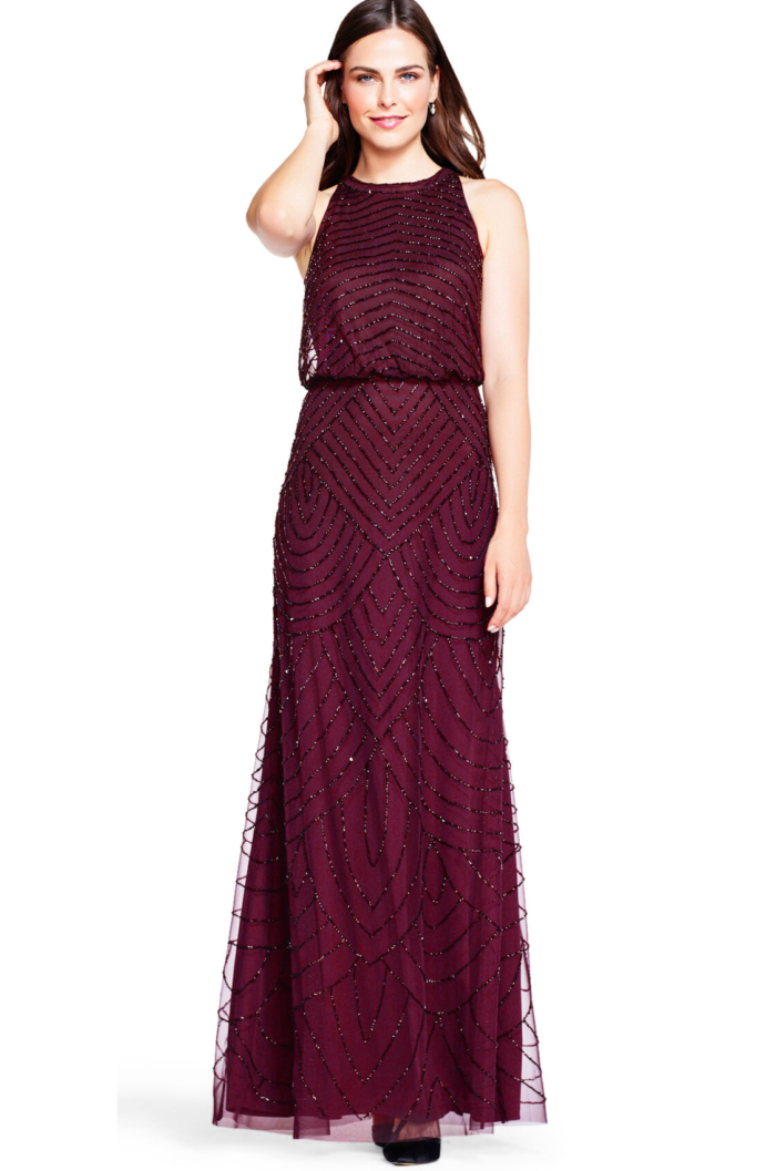 Nouveau Halter Art Deco Beaded Blouson Dress By Adrianna Papell - Cassis