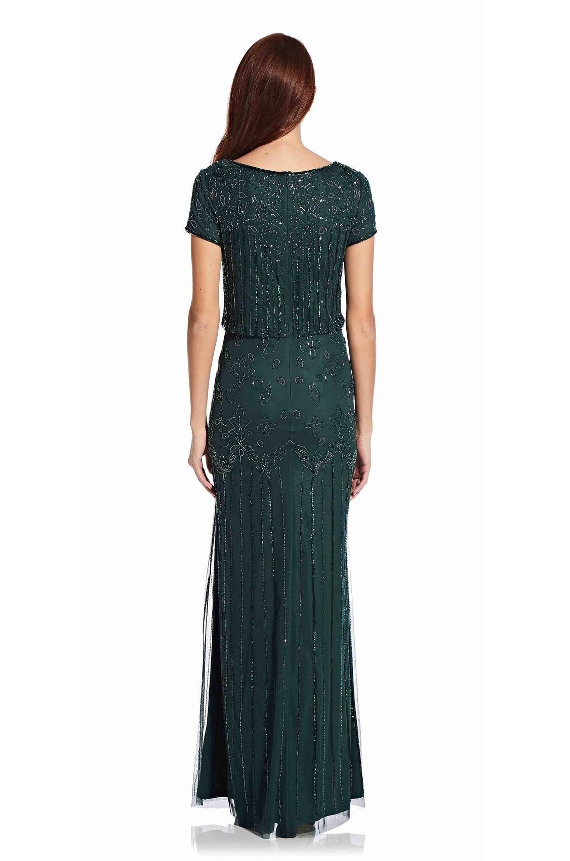 Nina Short Sleeve Blouson Beaded Gown By Adrianna Papell - Emerald