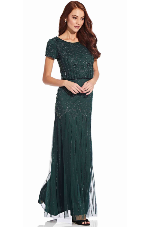 Nina Short Sleeve Blouson Beaded Gown By Adrianna Papell - Emerald