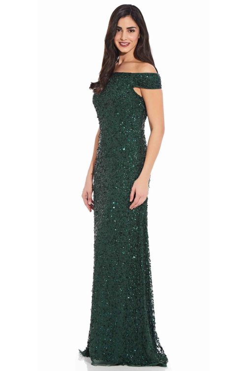 Lillian Off the Shoulder Sequin Beaded Gown By Adrianna Papell - Dusty Emerald