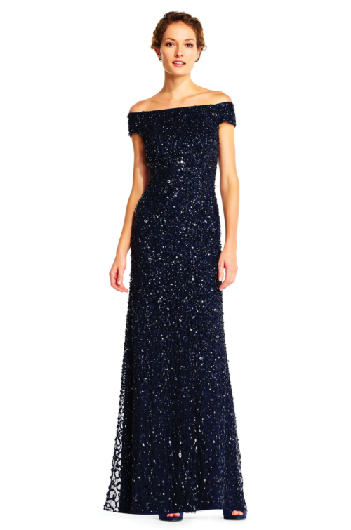 Lillian Off the Shoulder Sequin Beaded Gown By Adrianna Papell - Navy