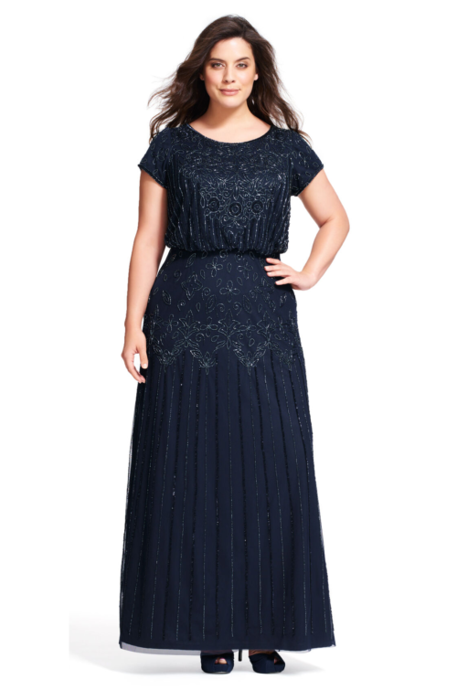 Nina Short Sleeve Blouson Beaded Gown By Adrianna Papell - Navy
