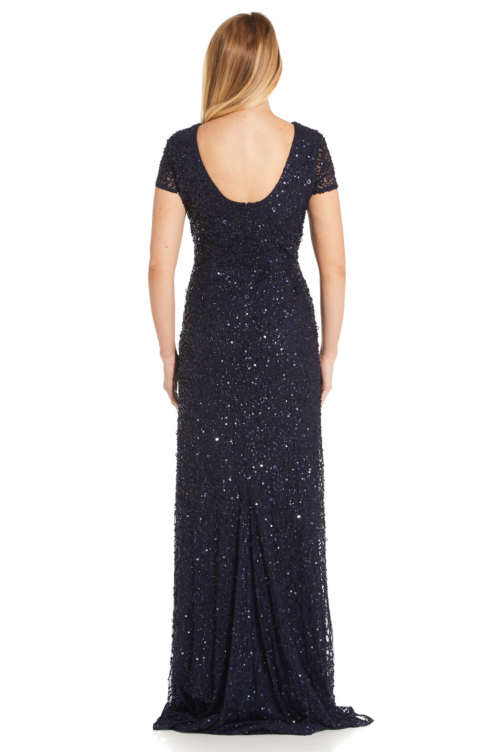Pearl Scoop Back Sequin Gown By Adrianna Papell - Navy
