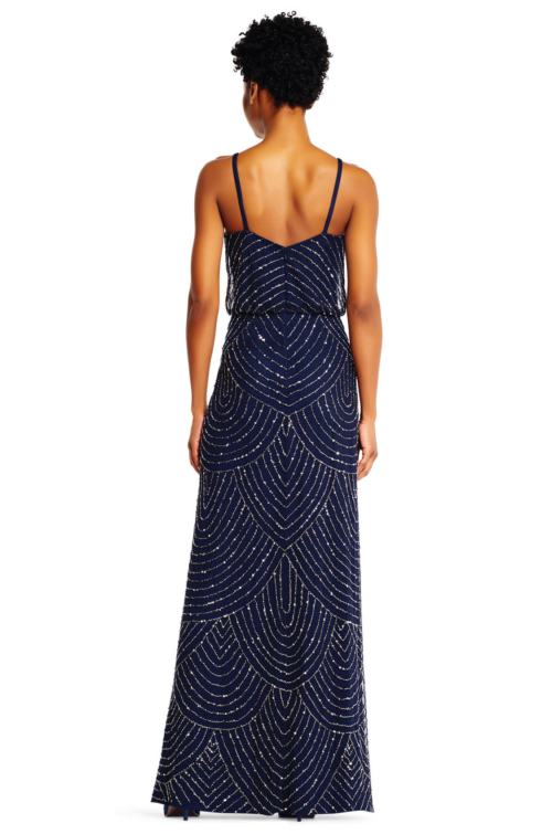 Gatsby Art Deco Blouson Beaded Gown By Adrianna Papell - Navy