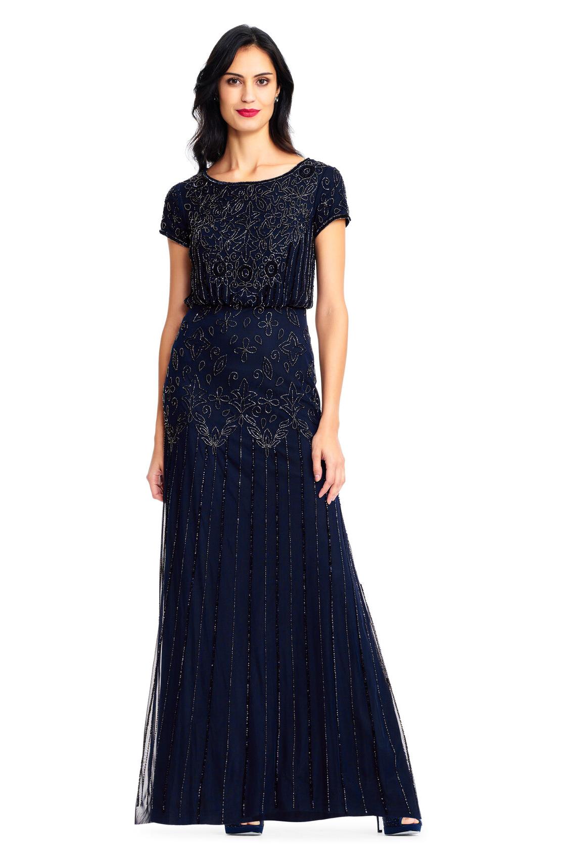 Nina Short Sleeve Blouson Beaded Gown By Adrianna Papell - Navy