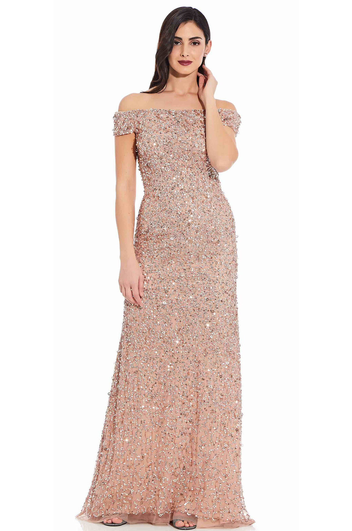 Lillian Off the Shoulder Sequin Beaded Gown By Adrianna Papell - Rose Gold