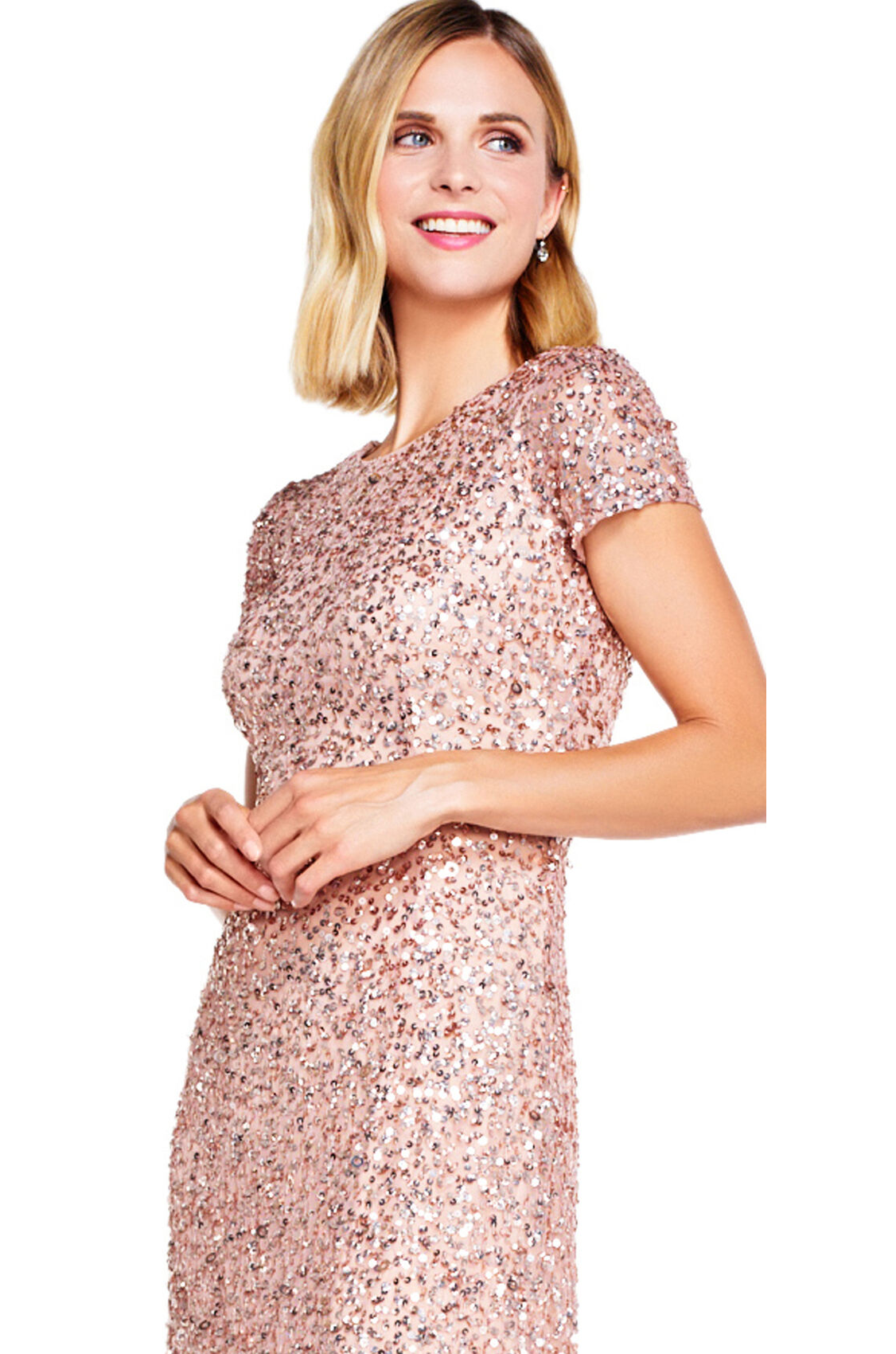 Pearl Scoop Back Sequin Gown By Adrianna Papell - Rose Gold
