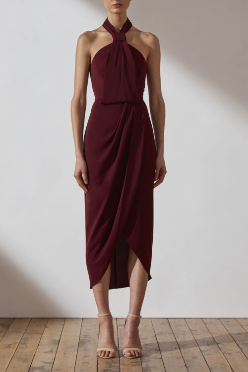Amanda Core Knot Draped Dress by Shona Joy - Burgundy