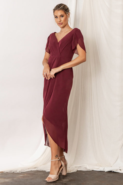 Zara Bridesmaid Dresses by Talia Sarah in Mahogany Burgundy Red