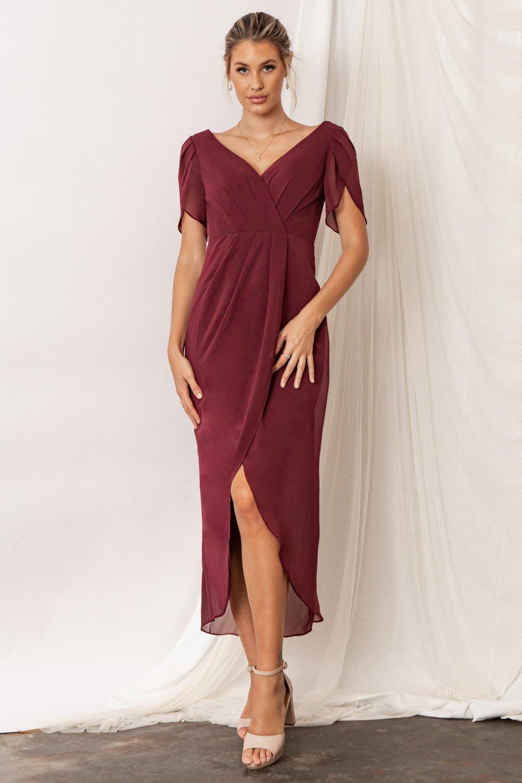 Zara Bridesmaid Dresses by Talia Sarah in Mahogany Burgundy Red