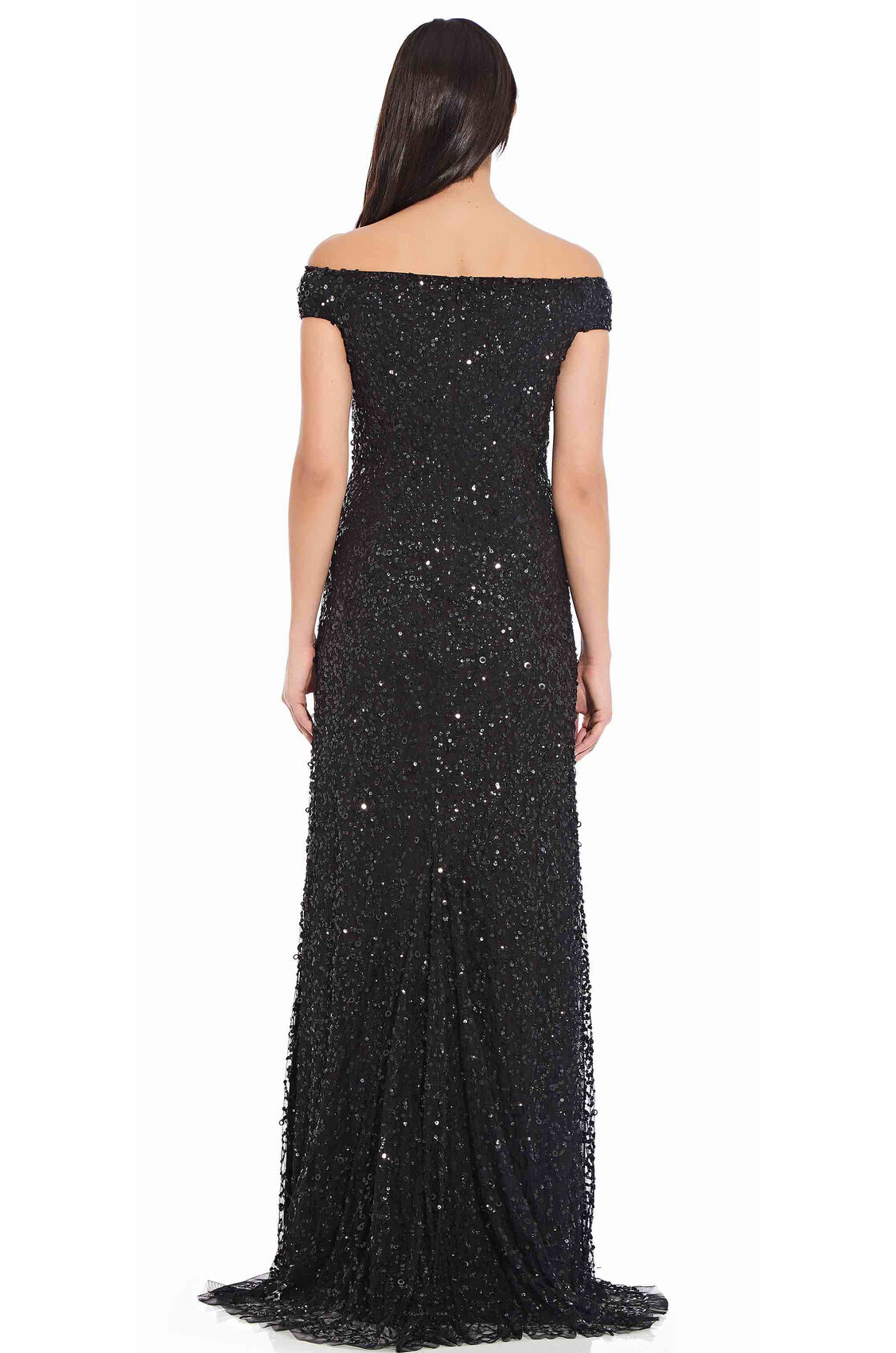 Lillian Off the Shoulder Sequin Beaded Gown By Adrianna Papell - Black