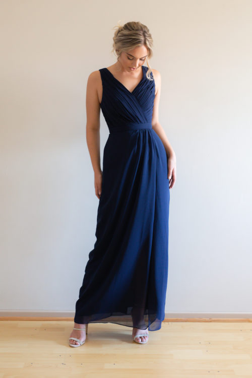 Juliette Wide Strap Navy Bridesmaids Dress by Talia Sarah
