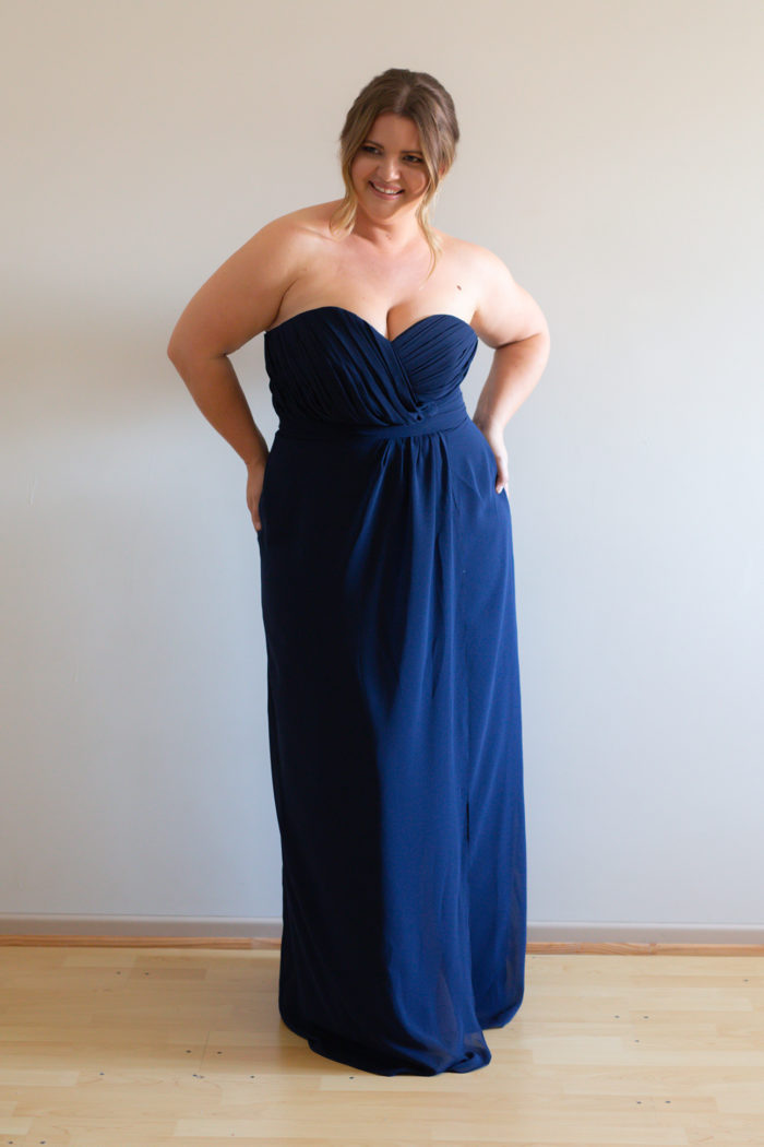 Laura Strapless Navy Bridesmaids Dress by Talia Sarah