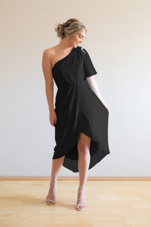 Tessa Asymmetrical Black Bridesmaids Dress by Talia Sarah