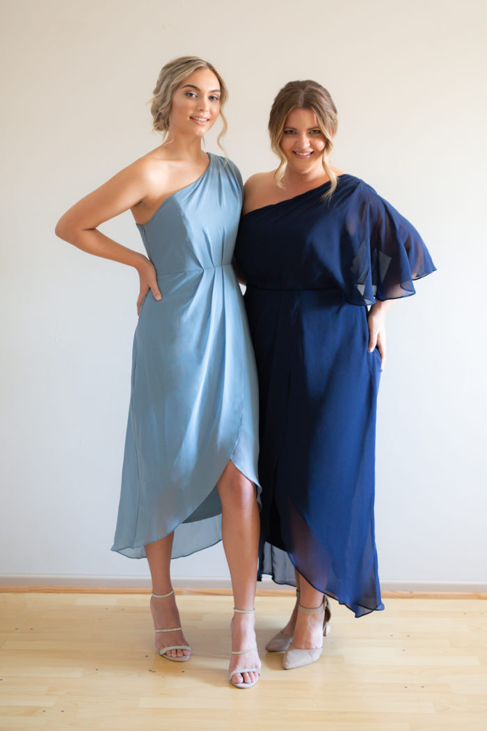Tessa Asymmetrical Dusty Blue Bridesmaids Dress by Talia Sarah