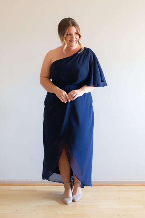 Tessa Asymmetrical Navy Blue Bridesmaids Dress by Talia Sarah
