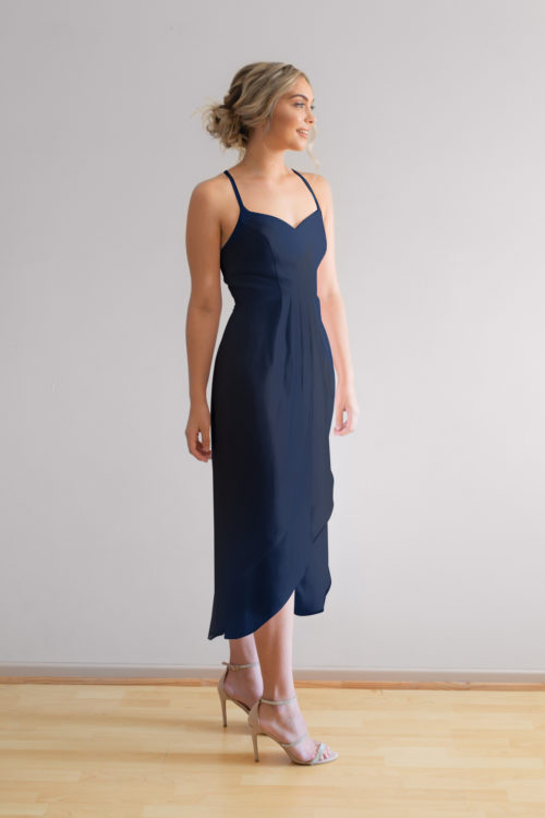 Chloe Cocktail Bridesmaids Dress in Navy