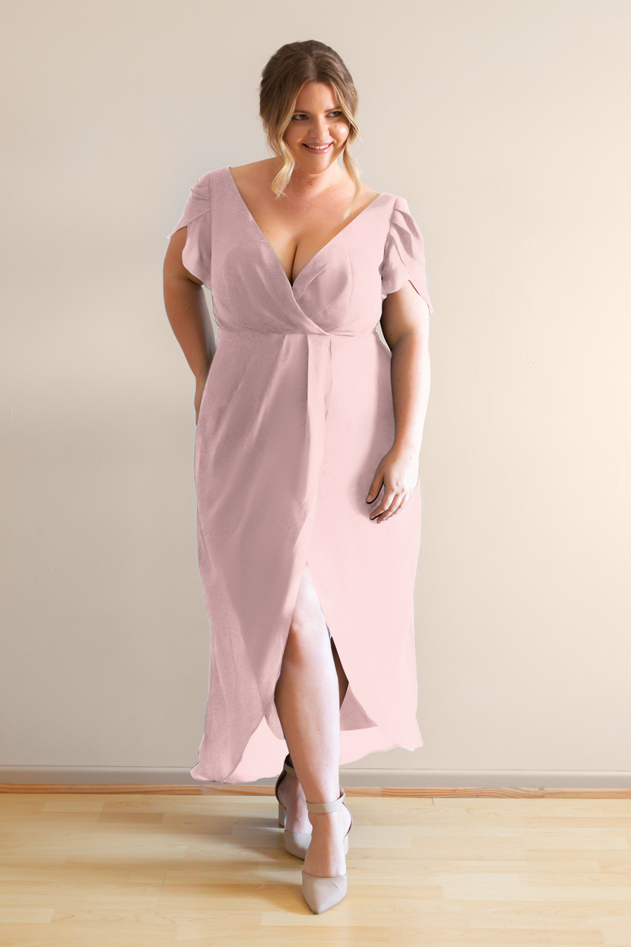 Zara pink bridesmaids cocktail dress with sleeves curvy