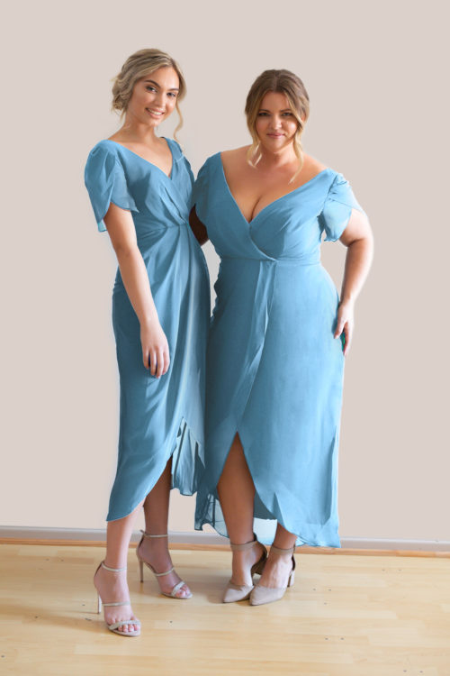 Talia Sarah Zara Dusty Blue Bridesmaids Dress