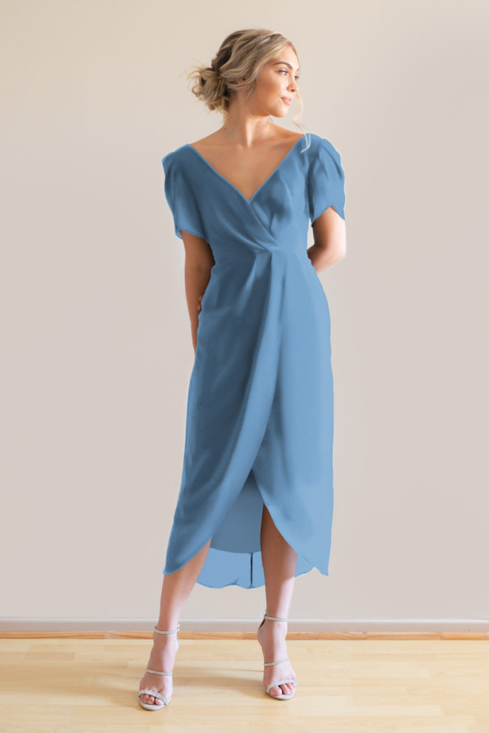 Zara dusty blue bridesmaids cocktail dress with sleeves curvy
