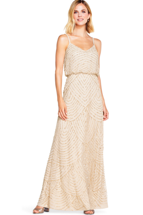 Gatsby Art Deco Blouson Beaded Gown By Adrianna Papell - Champagne/Gold