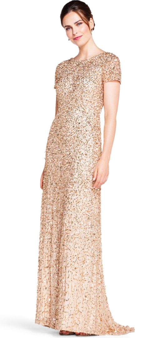 Pearl Scoop Back Sequin Gown By Adrianna Papell - Champagne