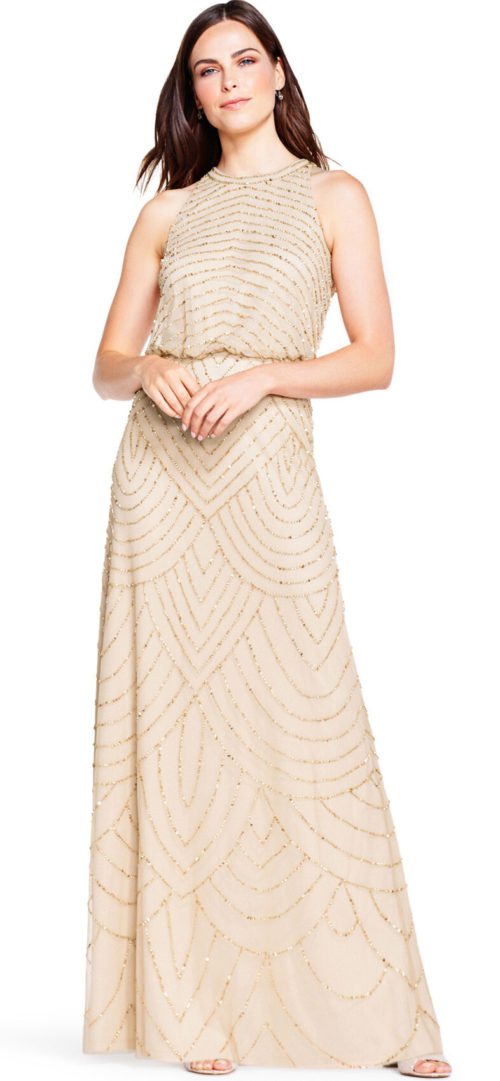 Nouveau Halter Art Deco Beaded Blouson Dress By Adrianna Papell - Champagne/Gold