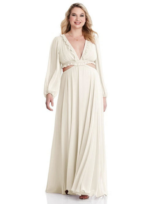 Harlow Ivory White Bohemian Long Sleeve Bridesmaids Dress by Dessy
