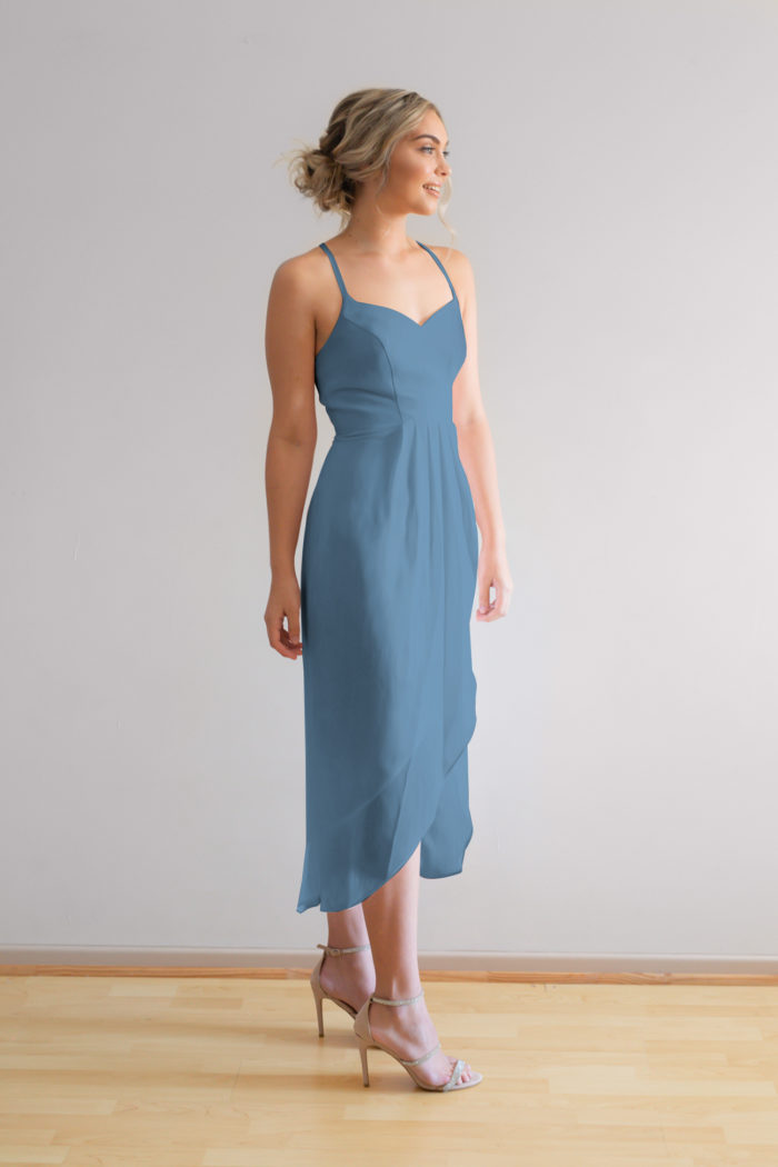 Chloe cocktail bridesmaids dress in dusty blue