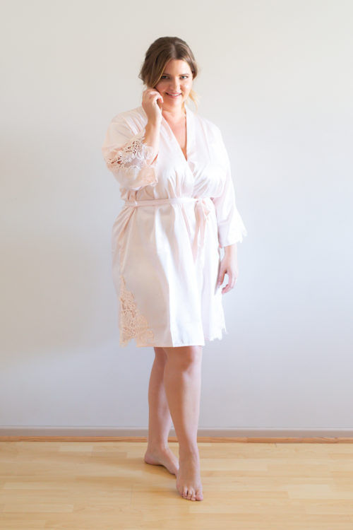 Amelie blush pink satin bridesmaid robes
