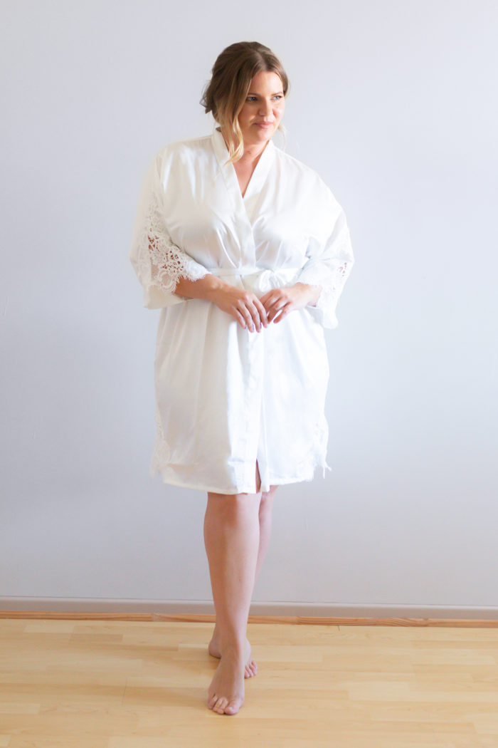 Amelie White Bridal Robes with Lace Trim