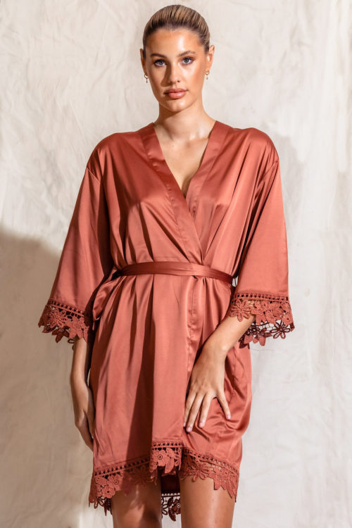 Satin lace bridesmaid robe cinnamon