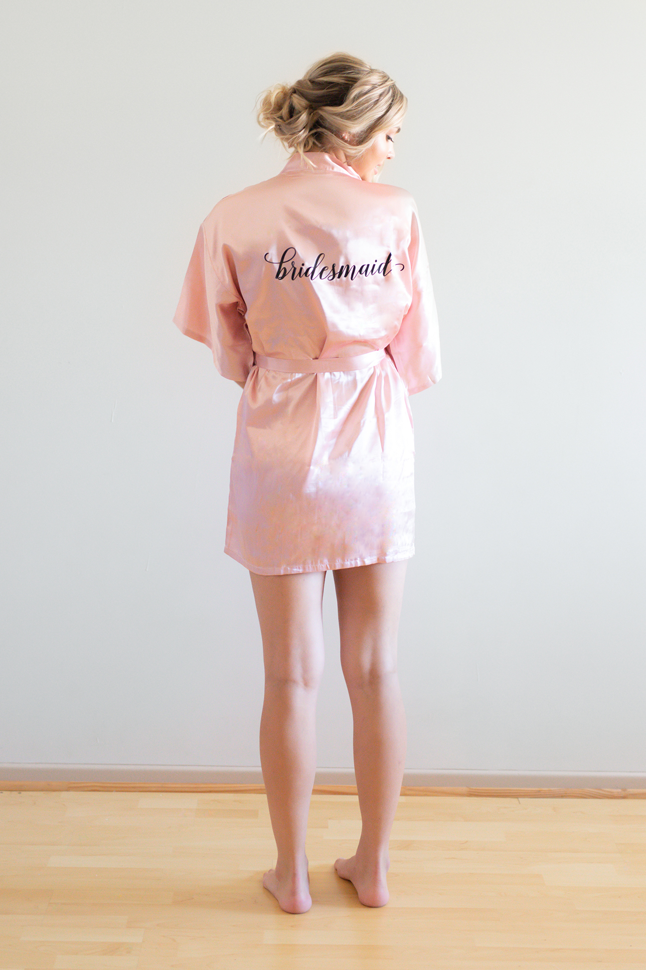 Evie Bridesmaid Robes Printed Text Black Font
