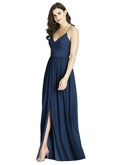 Ashley Luxe chiffon Navy Blue Bridesmaids Dress by Dessy