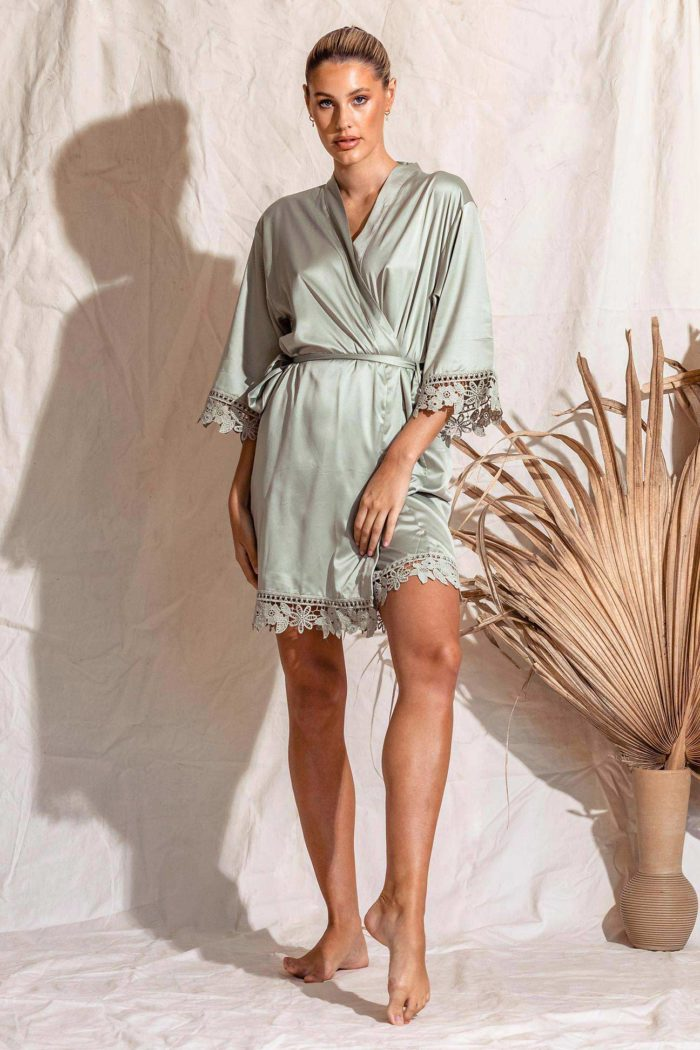 Satin Lace Bridesmaid robe sage green