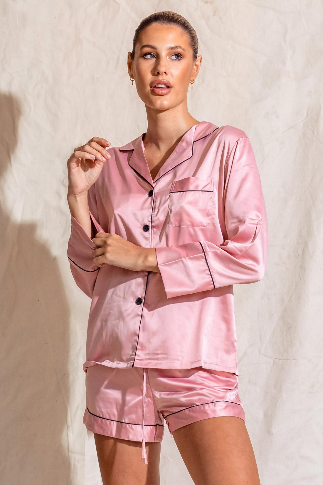 Harmony Dusty Rose Pink Satin Bridesmaids Pyjamas