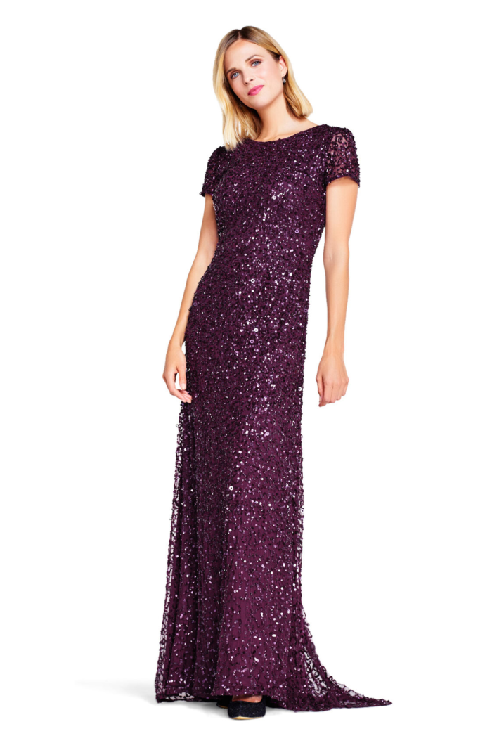 Pearl Scoop Back Sequin Gown By Adrianna Papell - Cabernet