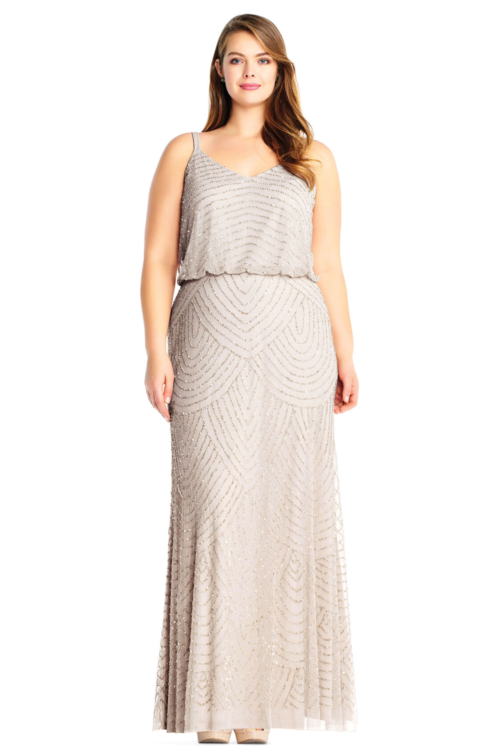 Gatsby Art Deco Blouson Beaded Gown By Adrianna Papell - Silver/Nude