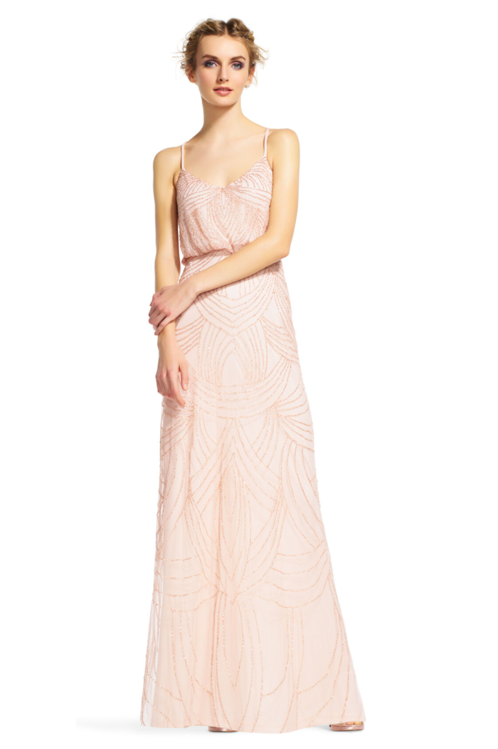 Frances Beaded Blouson Gown By Adrianna Papell - Blush