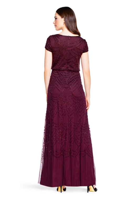 Evelyn Cassis Short Sleeve Beaded Blouson Gown By Adrianna Papell
