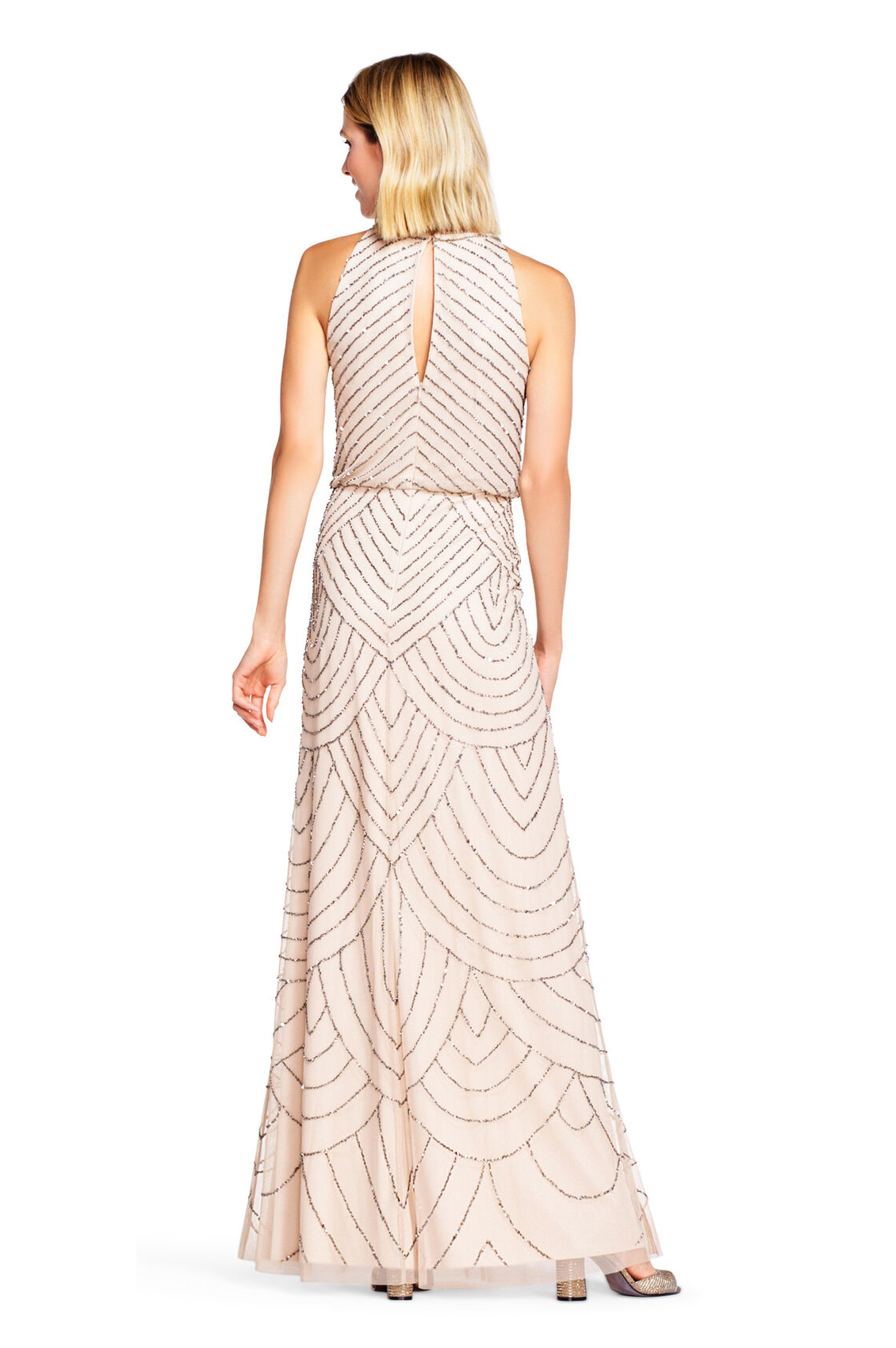 Nouveau Halter Art Deco Beaded Blouson Dress By Adrianna Papell - Nude
